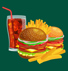 set of tasty burgers grilled beef and fresh vector image
