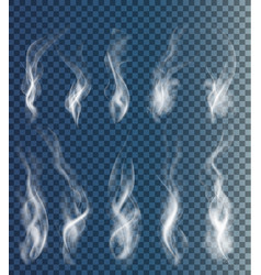 set of transparent clouds and smoke vector image