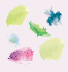 Set watercolor stains green purple pink vector