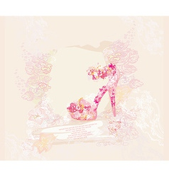 Shoes vintage floral abstract poster vector