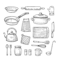sketch kitchen tools cooking utensils hand drawn vector image