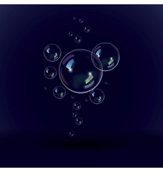 Soap bubbles on a black blue background vector image
