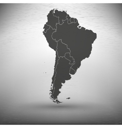 South America map with shadow on gray background vector image