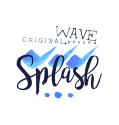 splash wave logo origrnal design water element vector image