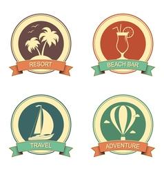 Summertime retro badges set vector