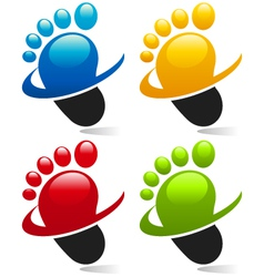 Swoosh Foot Logo Icons vector