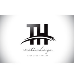 Th t h letter logo design with swoosh and black vector