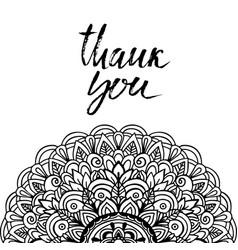 thank you handwritten inscription mandala pattern vector image