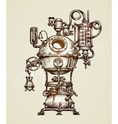Vintage distillation apparatus sketch Moonshining vector