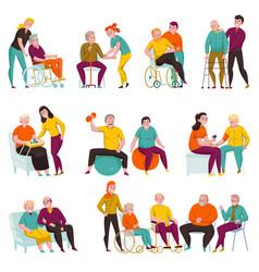 Volunteers help elderly flat set vector