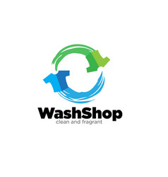 Wash shop service for laundry logo designs fast vector