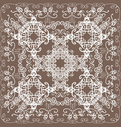 White delicate oriental lace on beige background vector