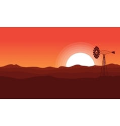 WIndmill on desert of landscape vector image