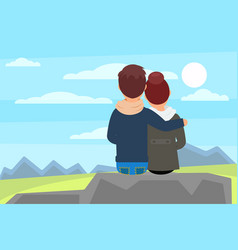 young couple sitting on stone rock and enjoying vector image