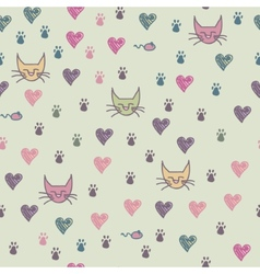 A seamless pattern of cats footprint vector image