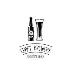 bottle and glass of craft beer icon pub bar symbol vector image