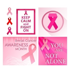 Breast cancer poster set vector image