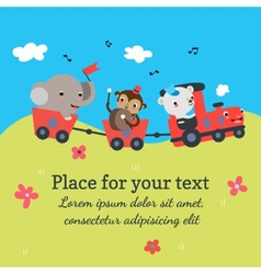 Cartoon train with animals vector image vector image