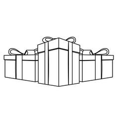 contour gift boxes icon vector image