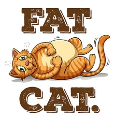 Fat cat with text vector image vector image
