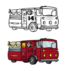 fire truck coloring book vector image vector image