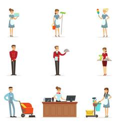 hotel staff set for label design colorful cartoon vector image