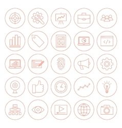 Line SEO Circle Icons vector image