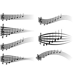 set musical staff various musical notes on stave vector image