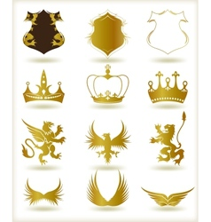 Collection heraldic gold elements vector