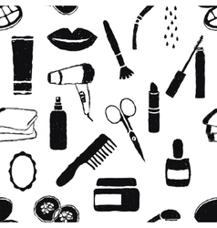 seamless doodle cosmetics pattern vector image vector image