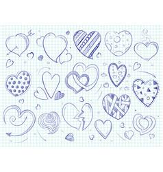 Cute doodle hearts love ball pen drawn vector