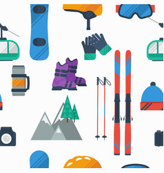 seamless pattern on white at winter mountain sport vector image