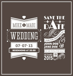 Wedding stamps brown vector image