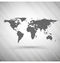 world map on gray background grunge texture vector image vector image