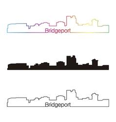 Bridgeport skyline linear style with rainbow vector image vector image