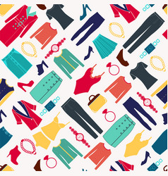 fashion women seamless pattern with clothes and vector image vector image