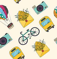 hand drawn travel seamless pattern vector image