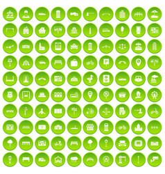 100 city icons set green circle vector