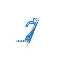 2 anniversary blue cut style isolated on white vector