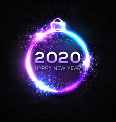 2020 happy new year background neon text confetti vector image