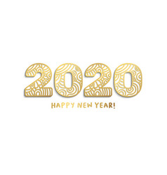2020 happy new year golden laser cut lettering vector