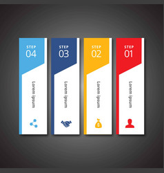 4 steps of infographic with sky blue blue yellow vector image