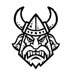 A cartoon viking with a horned helmet and beard vector