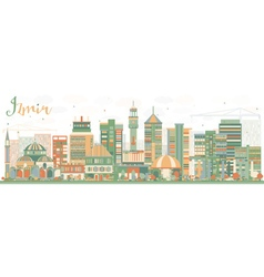 Abstract Izmir Skyline with Color Buildings vector