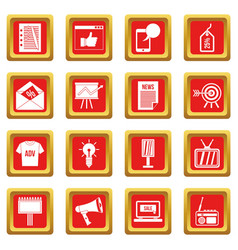 Advertisement icons set red vector