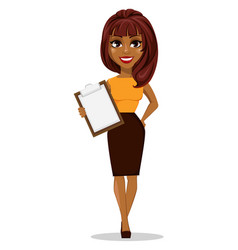 african american business woman cartoon character vector image