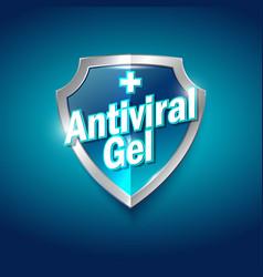 Antiviral antiseptic logo sanitizer gel shield vector