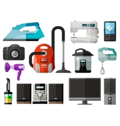 appliances icons set of elements - iron vacuum vector image