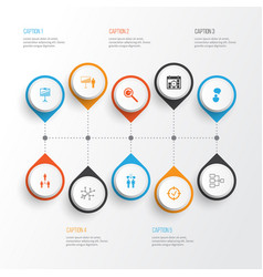 Authority icons set collection of co-working vector