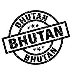Bhutan black round grunge stamp vector